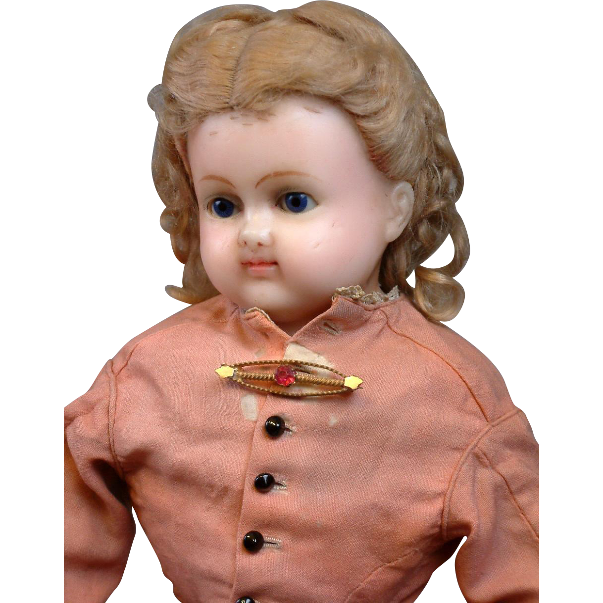 "Beautiful Early 21"" Wax Over Paper Mache Doll In Antique Ensemble"