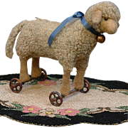 Cute & Rare Antique Mohair Steiff Lamb on Wheels c.1910 Adorable as a Pet For Your Favorite Bebe!