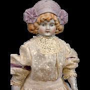 """Darling 13"""" Antique Parian Lavender Bonnet Head Girl w/Antique Costume"""