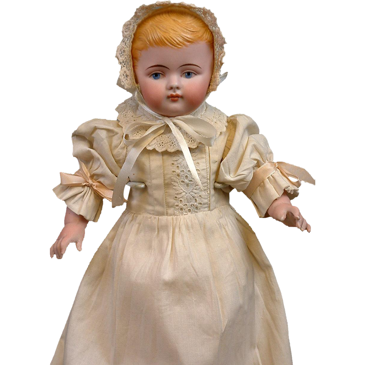 "UNCOMMON 13"" Large All Bisque Antique Baby Doll w/Bent Limbs & Antique Costume"