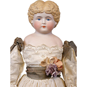 """Gorgeous 21"""" Parian Lady In Fabulous Victorian Hand-Embroidered Lawn Costume"""