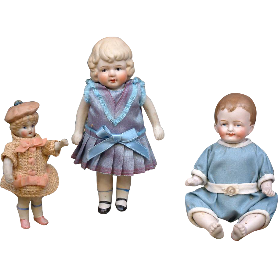Great Lot of 3 Antique All-Bisque Dolls -- Great For the Petite Item Collector!