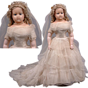 """~Be My Valentine~All Original 20"""" Wax Over Papier Mache Bride Doll With Glass Eyes C. 1860"""