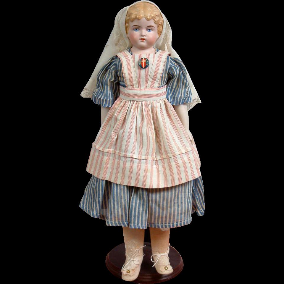 "Presentation Piece 100% Antique Nurse Costume Parian Lady 17"""