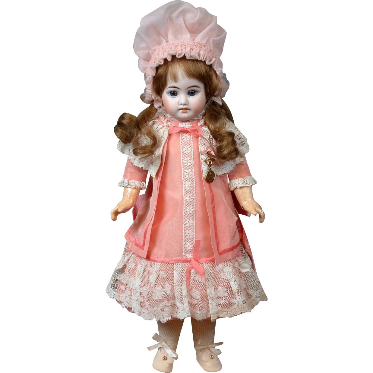 "Pale Blue-Eyed Fleischmann & Bloedel French Antique 15.5"" Bisque Doll w/Human Hair Wig"
