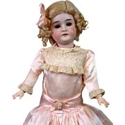 "Pretty In Pink 22.5"" Queen Louise Armand Marseille Antique Doll with Silvery Blue Eyes!"