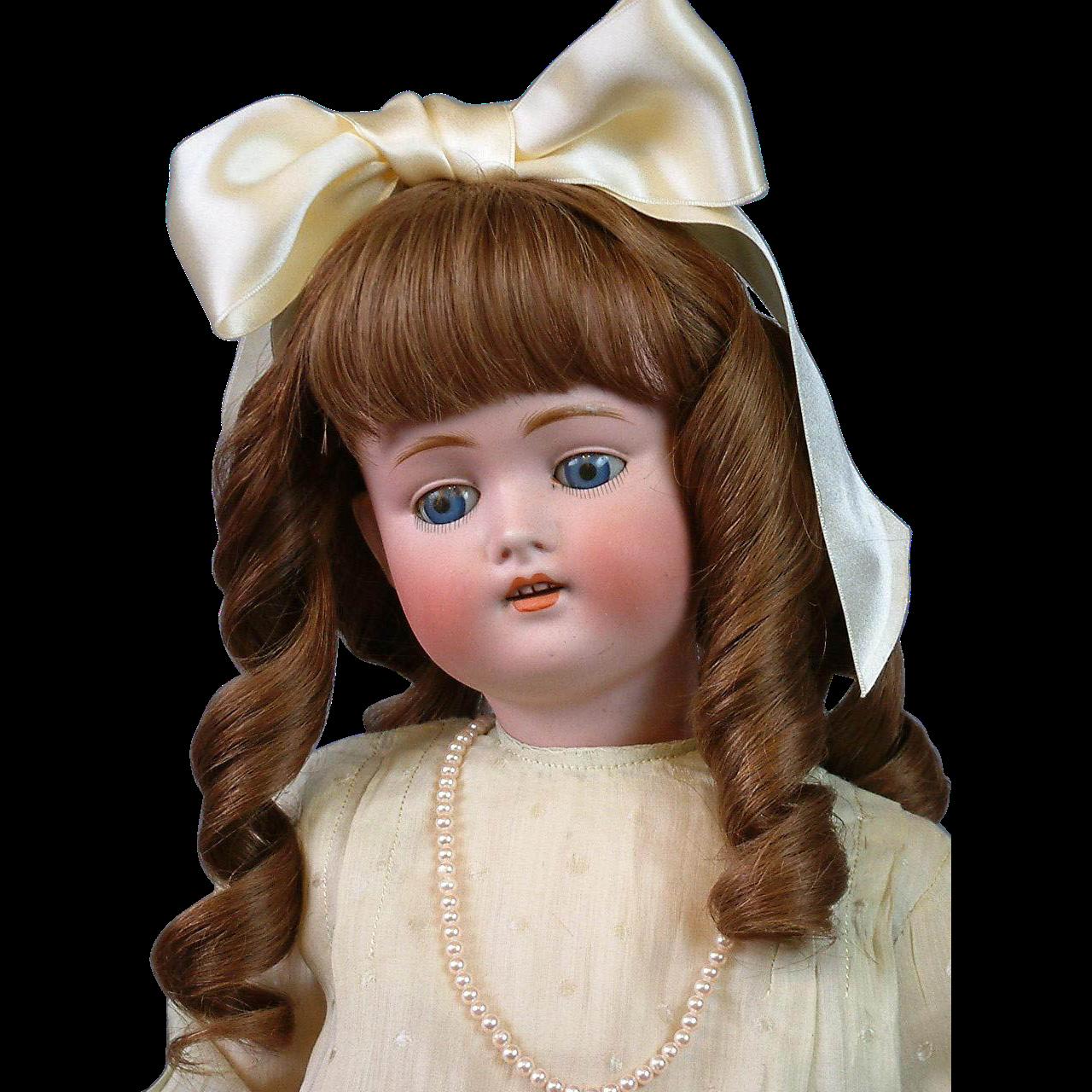 """Exceptional 22"""" Kestner 168 with Antique Silk Dress, Blue Eyes, & Original Body Stamp"""