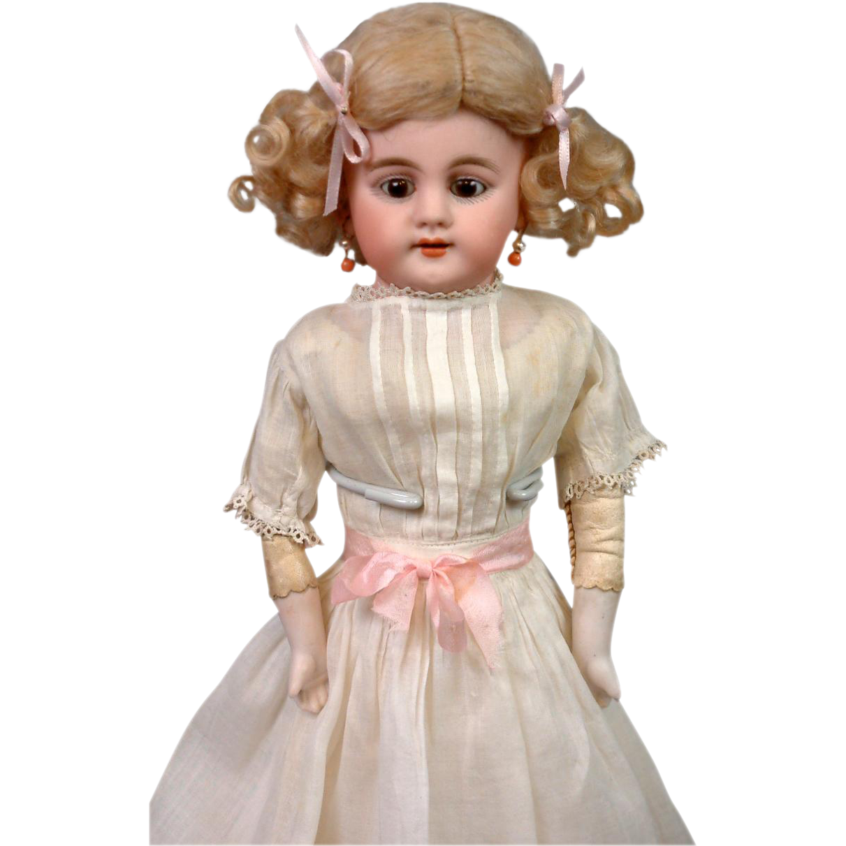 "Darling 13.5"" Simon & Halbig Bisque Shoulderhead Girl w/Cute Presentation"