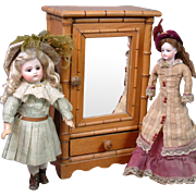 """Gorgeous Antique Pine Armoire with Bamboo Styling 15"""" Tall -- Best for Fashion Dolls"""