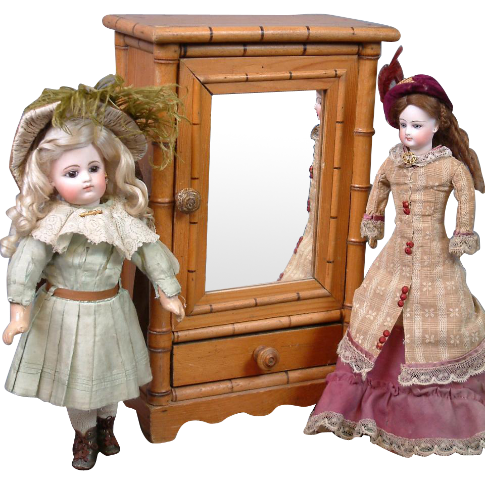 """Gorgeous Antique Doll Sized Armoire with Bamboo Styling 15"""" Tall -- Perfect for Fashion Dolls"""