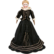 """Exceptional 19.5"""" Parian Fashion Lady in Victorian French Theater Ensemble~Original Body~Wooden Milliner's Model Feet!"""