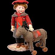 Fabulous Antique Early & Rare Steiff Wool Felt Donkey on Wheels c.1900-1905