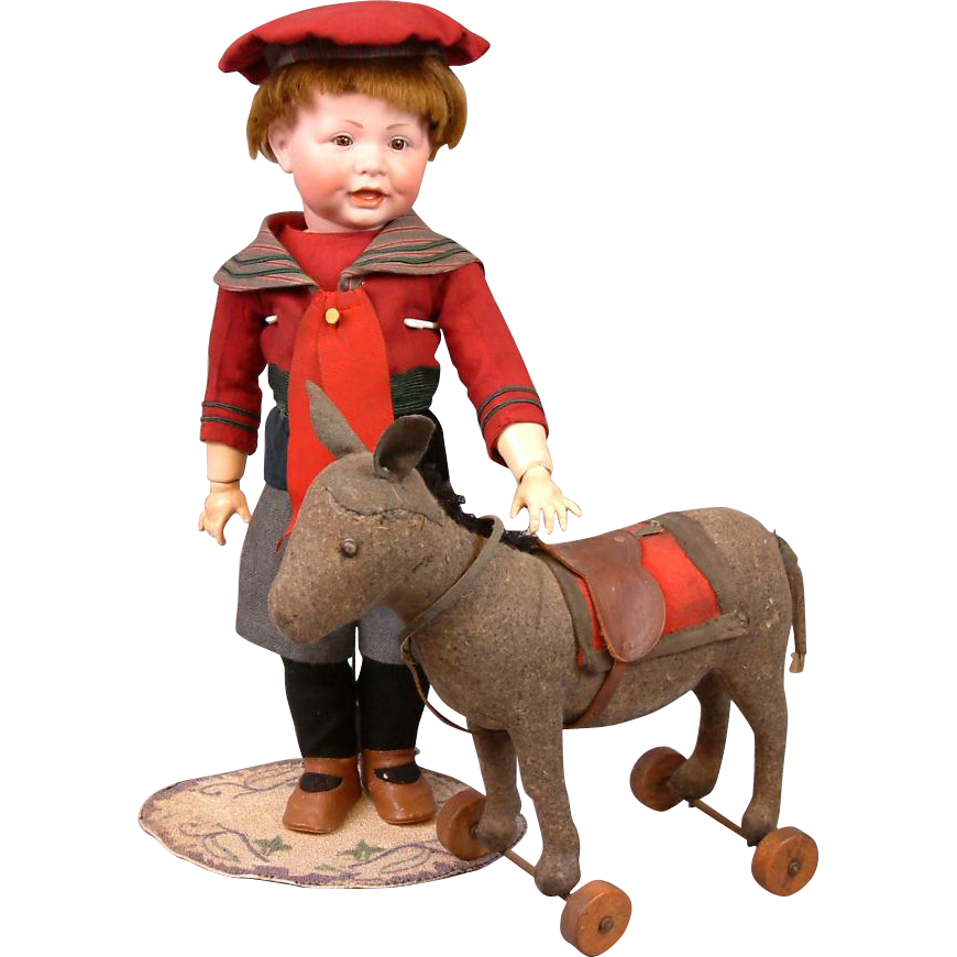 Fabulous Antique Early & Rare Steiff Wool Felt Donkey on Wheels c.1900-1905
