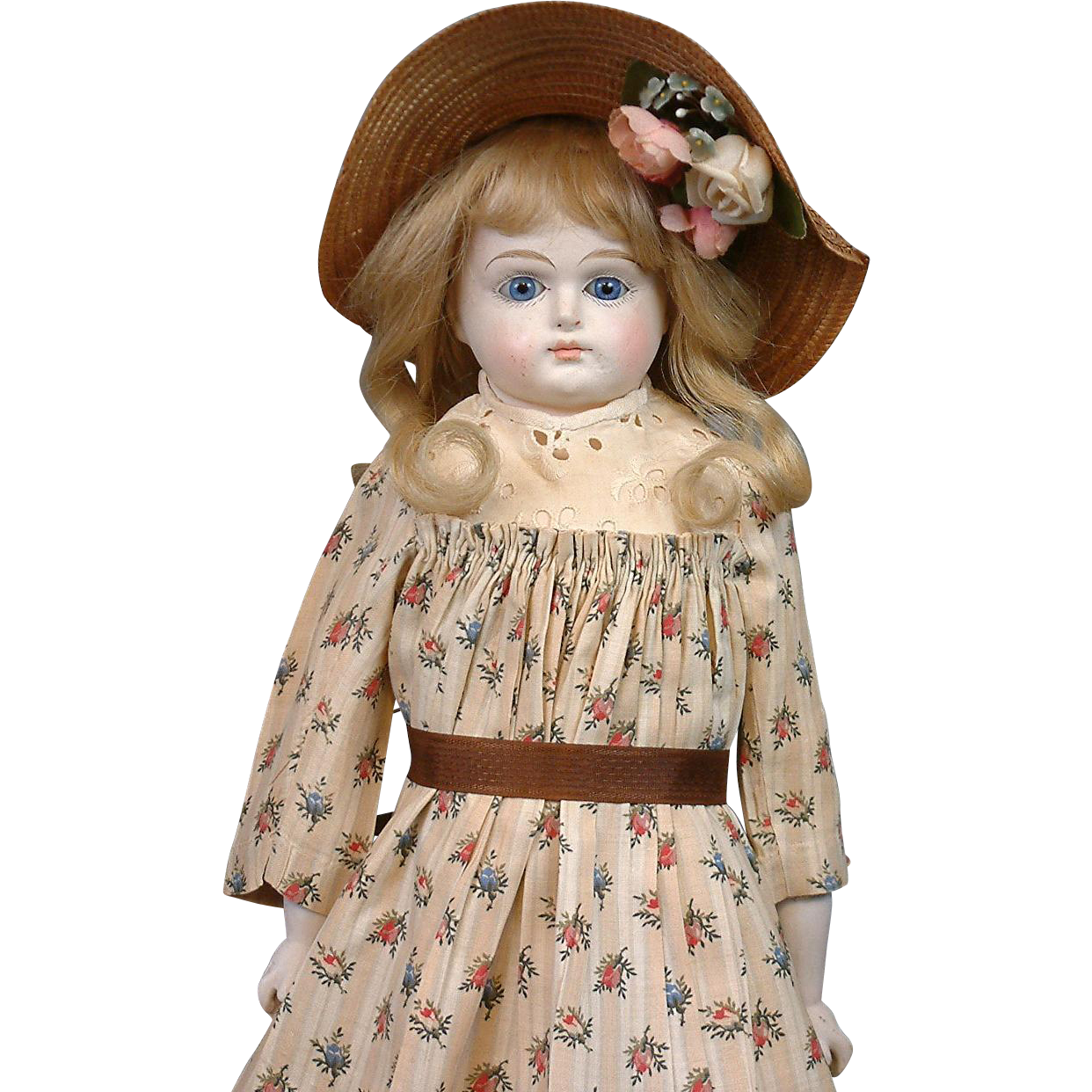 "Blue Glass Eyes 17"" Paper Mache Antique Doll with Antique Costume & Gorgeous Human Hair Wig"