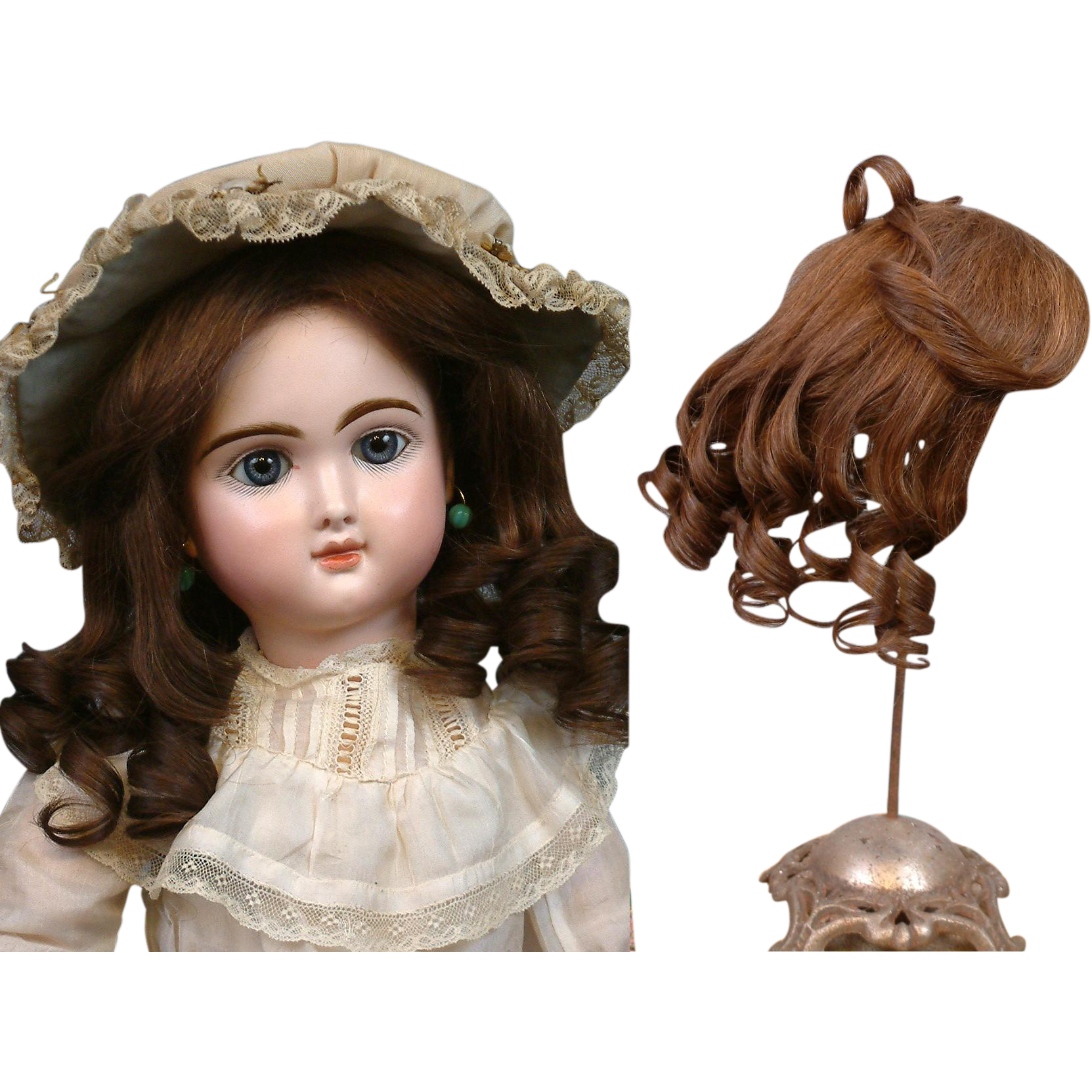 Extraordinary Antique French Human Hair Wig c.1890 For Size 10-11 Bebe