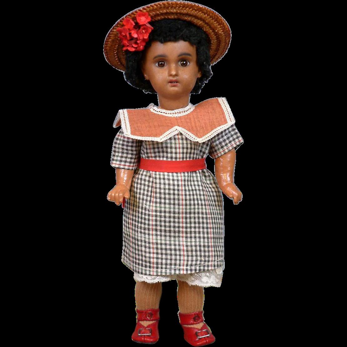 "SPRING SALE 11.5"" 1907 Mulatta Jumeau Bebe in Factory Dress"