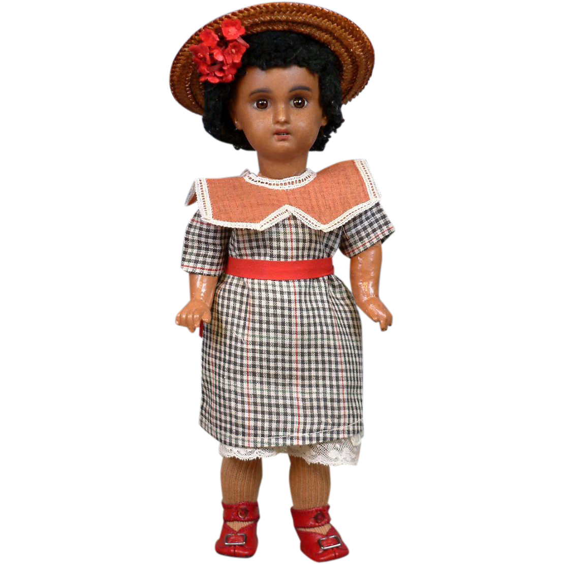 "11.5"" 1907 Black Brown Mulatta Jumeau Bebe in Factory Dress~Bleutte's Sister!"