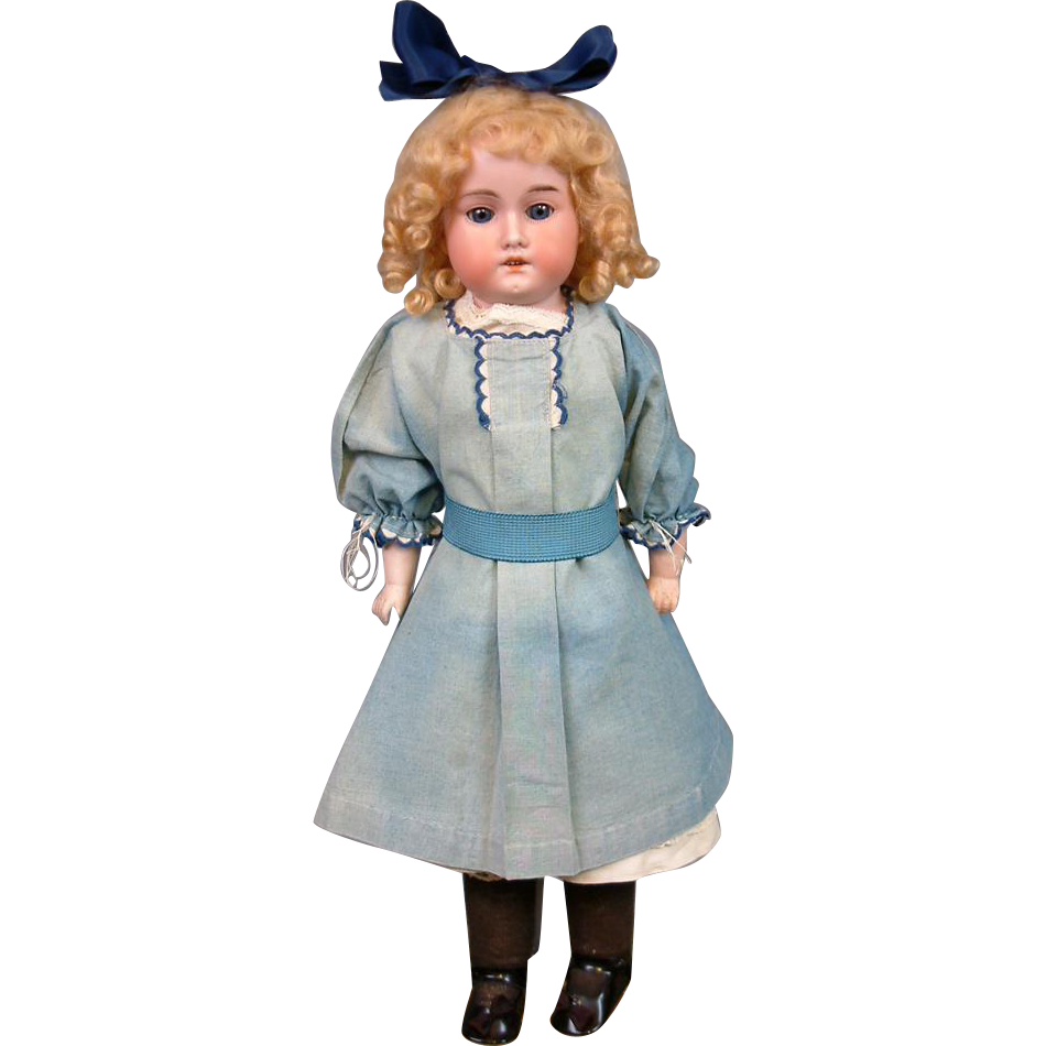"Preciouse 17"" ""Rosebud"" Armand Marseille Antique Bisque Girl in Blue Dress and Head Bow"