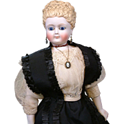"""INCREDIBLE 16"""" Swivel Head Fashion Lady By Simon & Halbig With Cobalt Eyes & Bisque Hands C. 1860"""