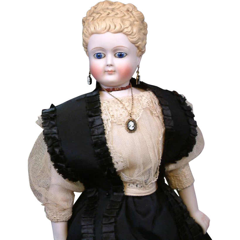 "~Thank You A.H.~INCREDIBLE 16"" Swivel Head Fashion Lady By Simon & Halbig With Cobalt Eyes & Bisque Hands C. 1860"