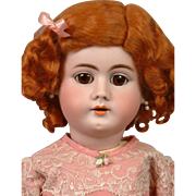Lovely Handwerck 99 Antique Bisque Girl in Cute Pink Lacey Costume