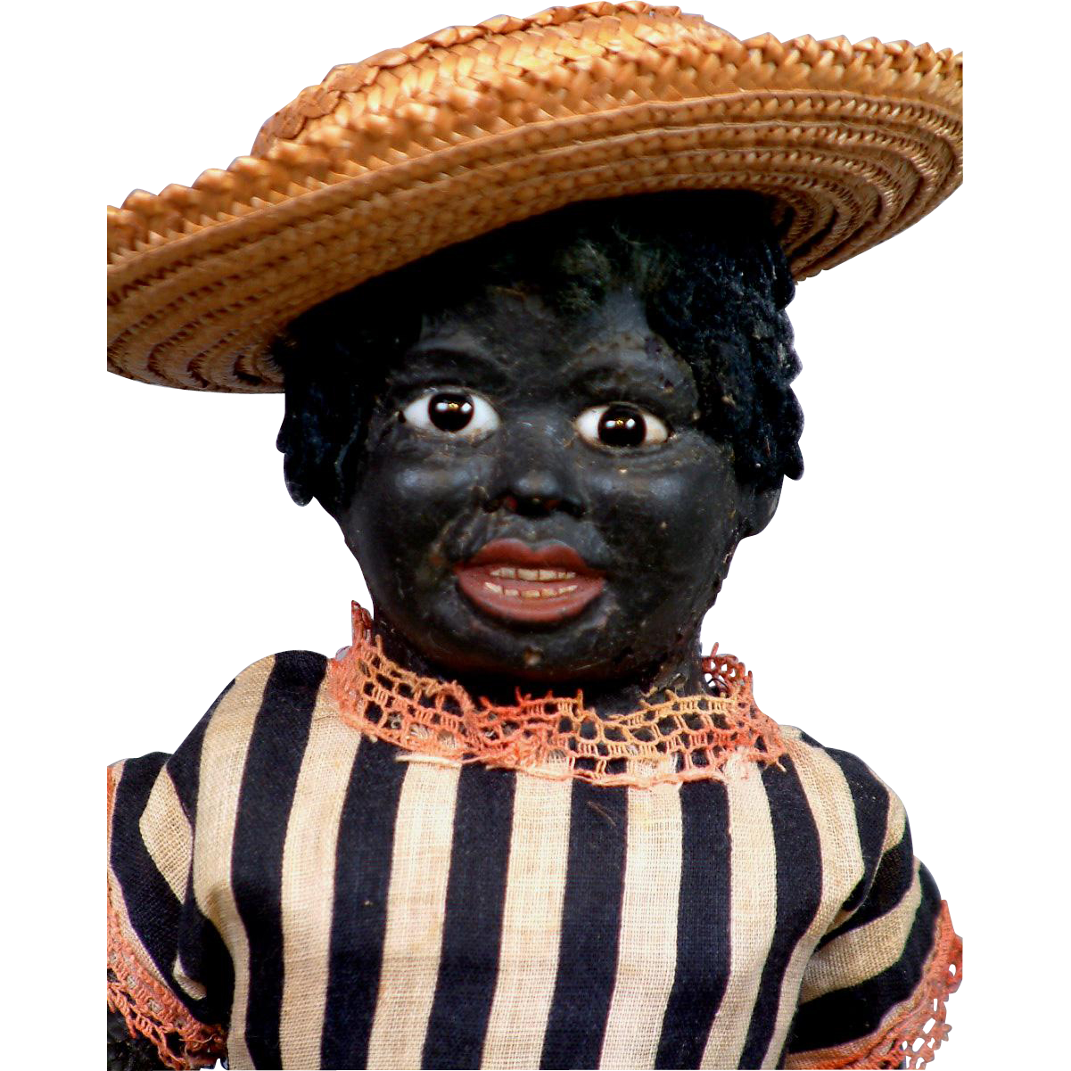 "Extremely Rare 15"" German Black Papier Mache Doll with Glass Eyes All Original"