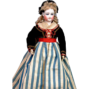 "Delightful 12.5"" All Original Jumeau Poupee Peau In Regional Costume c. 1880!"