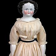"23.5"" Civil War Era China Lady All Original Body and Costume"