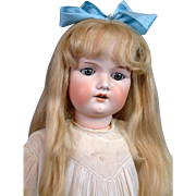 "*Exceptional* 30"" Armand Marseille 390 Antique Bisque Girl w/ Massive Blue Sleep Eyes & Human Hair Wig!"