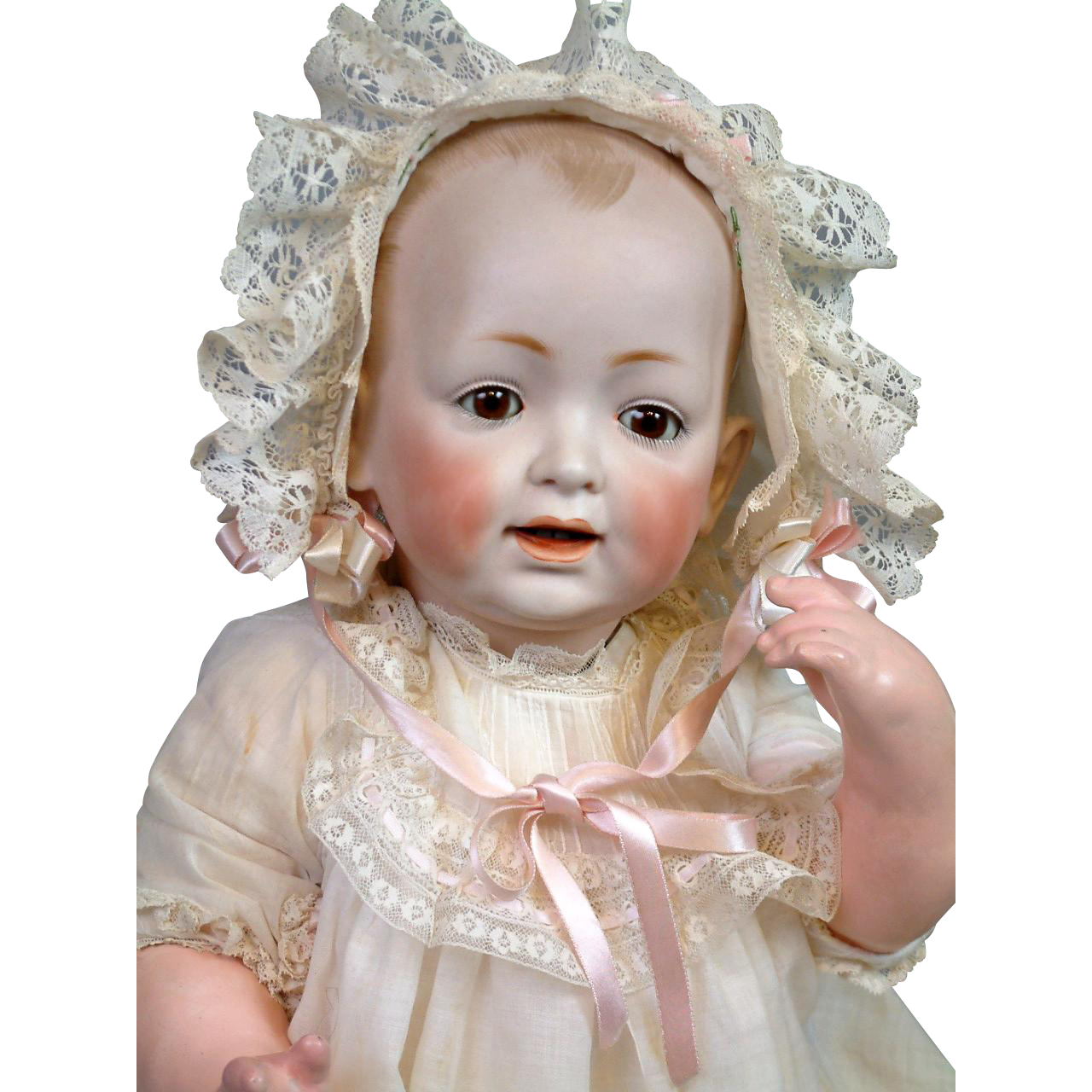 "Fantastic 19.5"" Kestner ""Baby Jean"" Antique Bisque Character Baby in Antique Costume!"