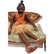 Unusual c.1930s Black Caricature Composition Josephine Baker-type Doll on Cloth Body in Native Costume!