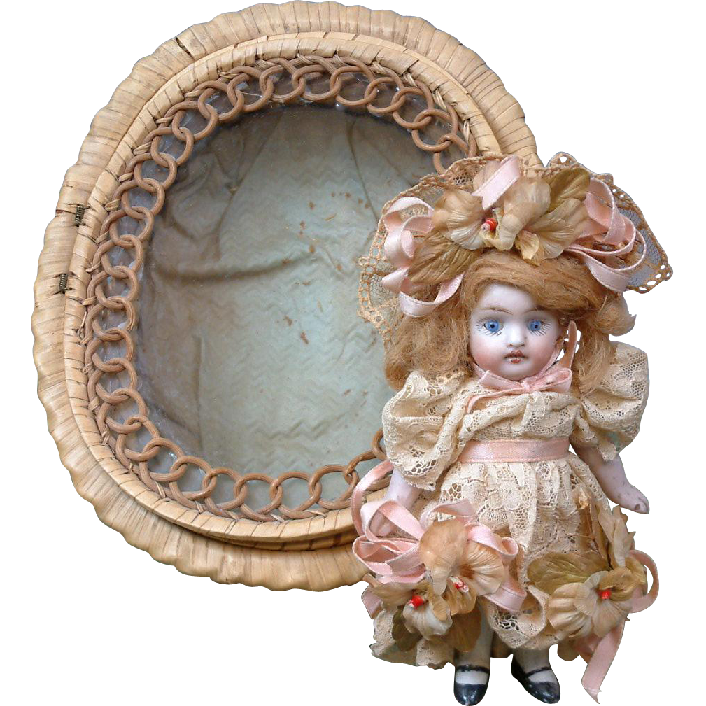 "All Original Tiny All-Bisque Antique Doll 5"" in Original Woven Basket with Glass Window!"