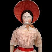 "28"" Civil War Era China Lady Named ""Miss Addie Pheiffer"" With Rare Brown Eyes & Antique Costume!"