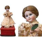 Rare All Original Closed Mouth French Automaton of Lady With Mirror & Handkerchief~Fully Functioning~