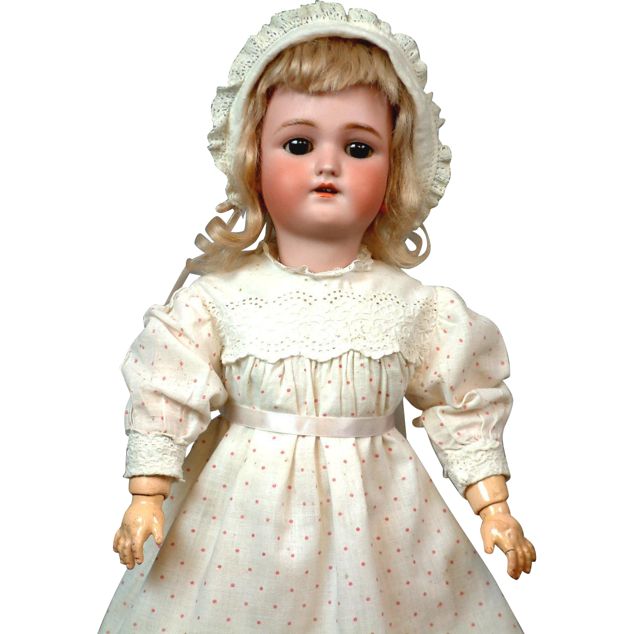 Beautiful Handwerck Daisy Type Doll With Soulful Brown Eyes original blonde mohair wig.