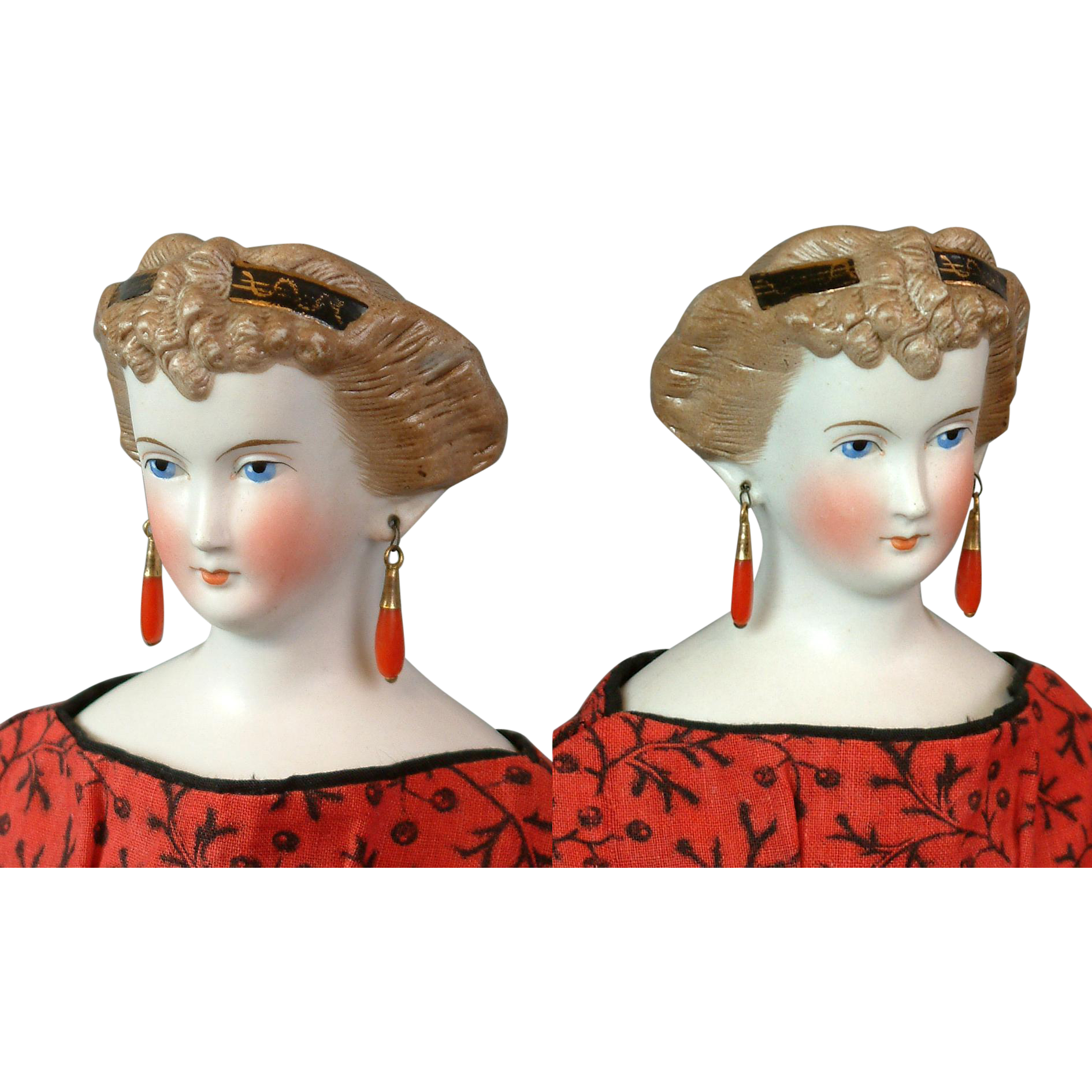 "17"" Princess Dagmar In Mint Condition With Original Coral Earrings C. 1860 Antique Doll!"