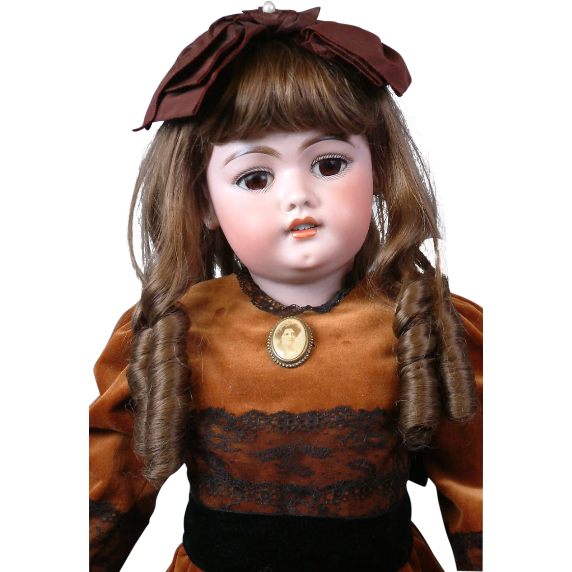 "SIMON & HALBIG Early 1079 26.5"" Antique Bisque Doll w/Orig Finish Early Unmarked Body & Nice Velvet Costume"