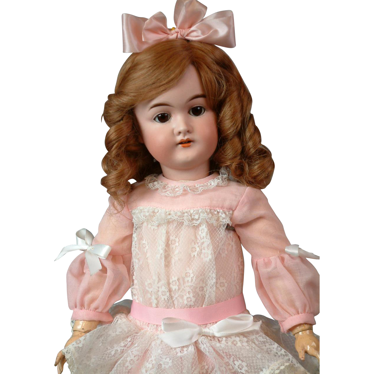 "Darling 20.5"" Karl Hartmann Antique Bisque Doll in Pink Lacy Dress"