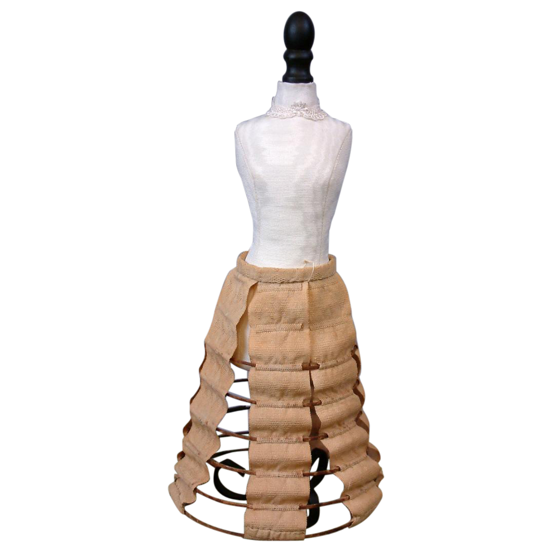 Rare Early c.1850 Hoop Skirt for Early China or Hueret Poupee, Hand-Stitched