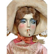 """Lovely Vintage Bed Doll """"Smoking Lady"""" in Original Costume"""