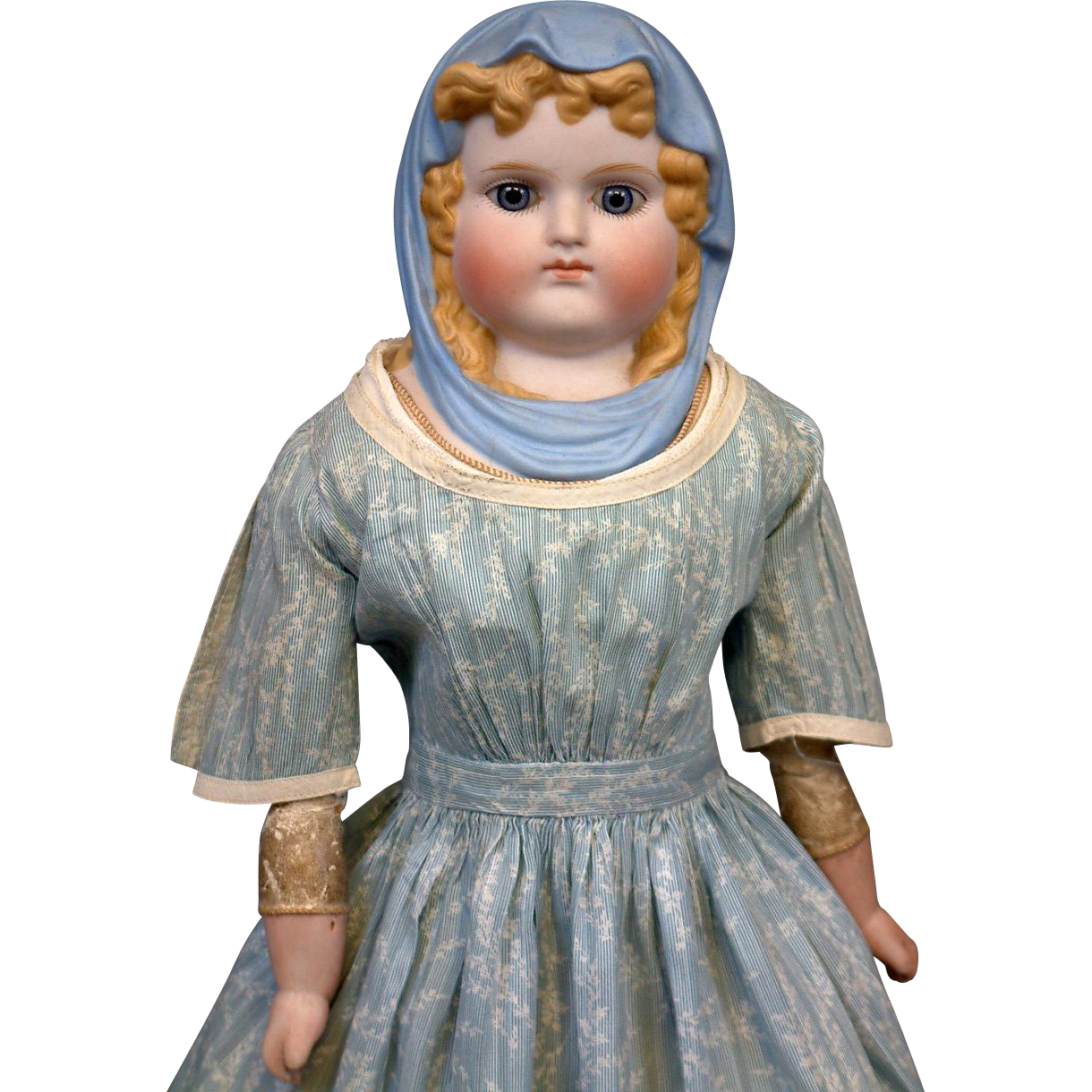 Queen Luise of Prussia Parian Lady with RARE Molded Blue Headscarf in Antique Costume
