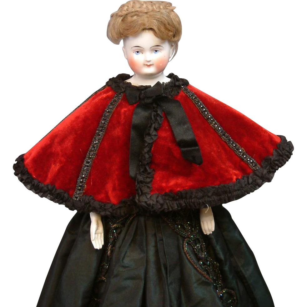 Incredible Original Poupee Opera Cape C. 1875 Red Silk Velvet with Jet Beading