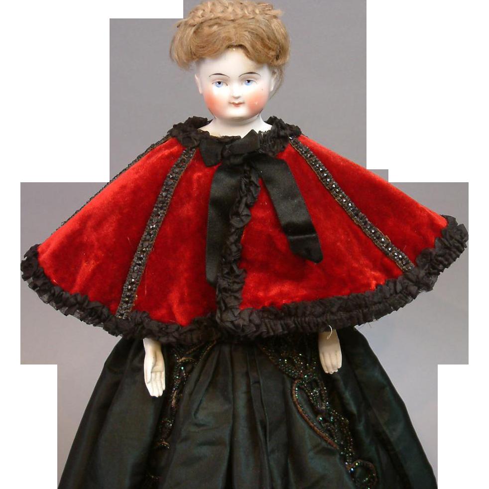 Incredible Original Poupee Opera Cape C. 1875 Red Silk Velvet with Jet Beading
