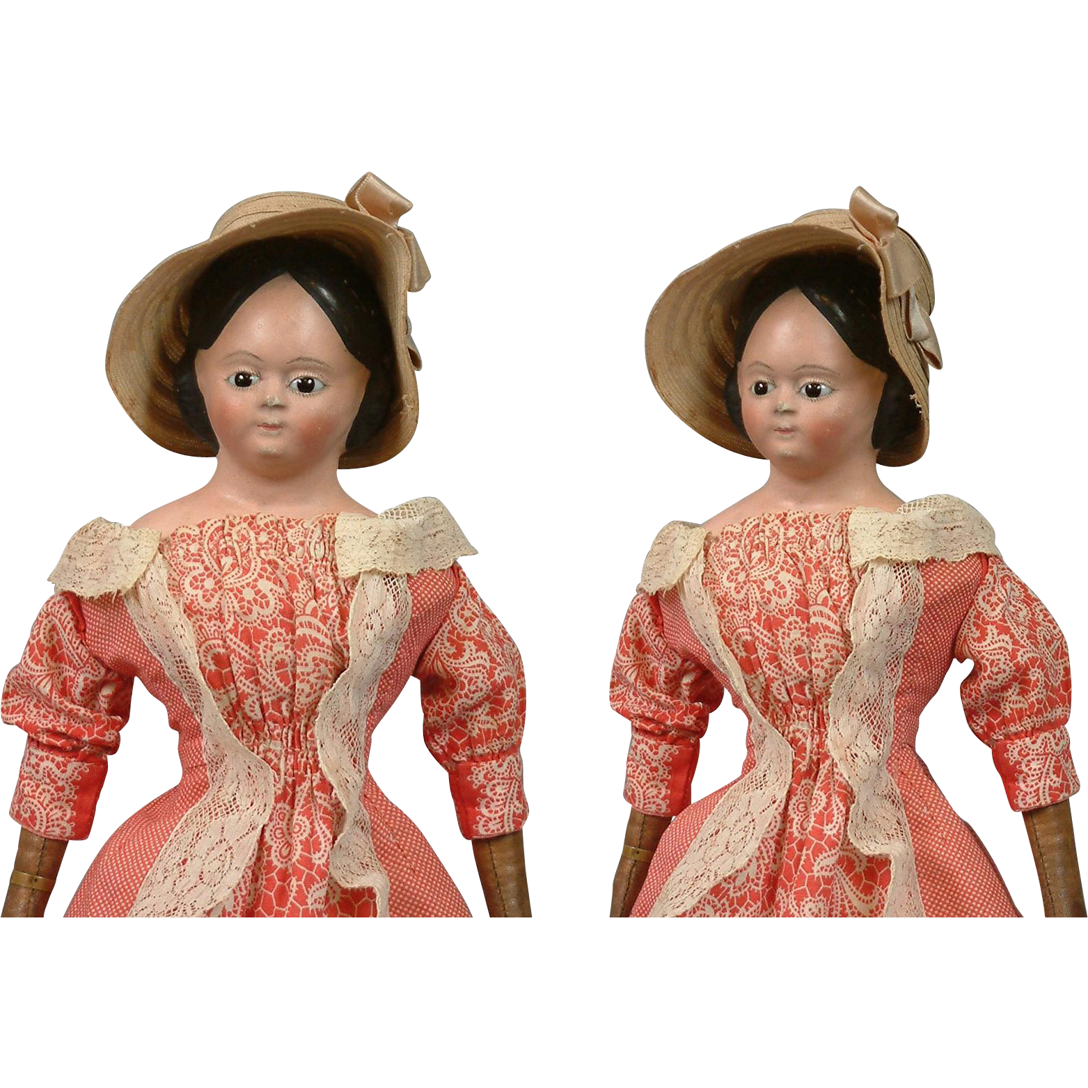 "Superb 16.5"" Early Civil War Papier Mache Lady With Glass Eyes, Early Poke Bonnet & Trunk C. 1855"