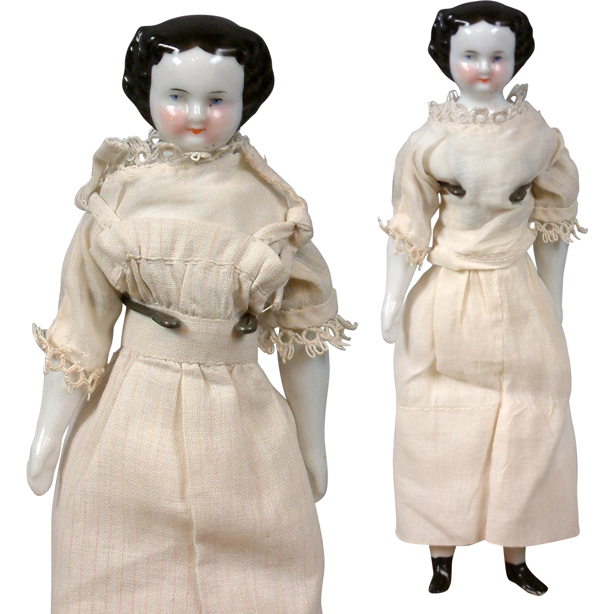 "Petite China Twin Ladies 7.5"" Tall in Cute Antique Costume!"