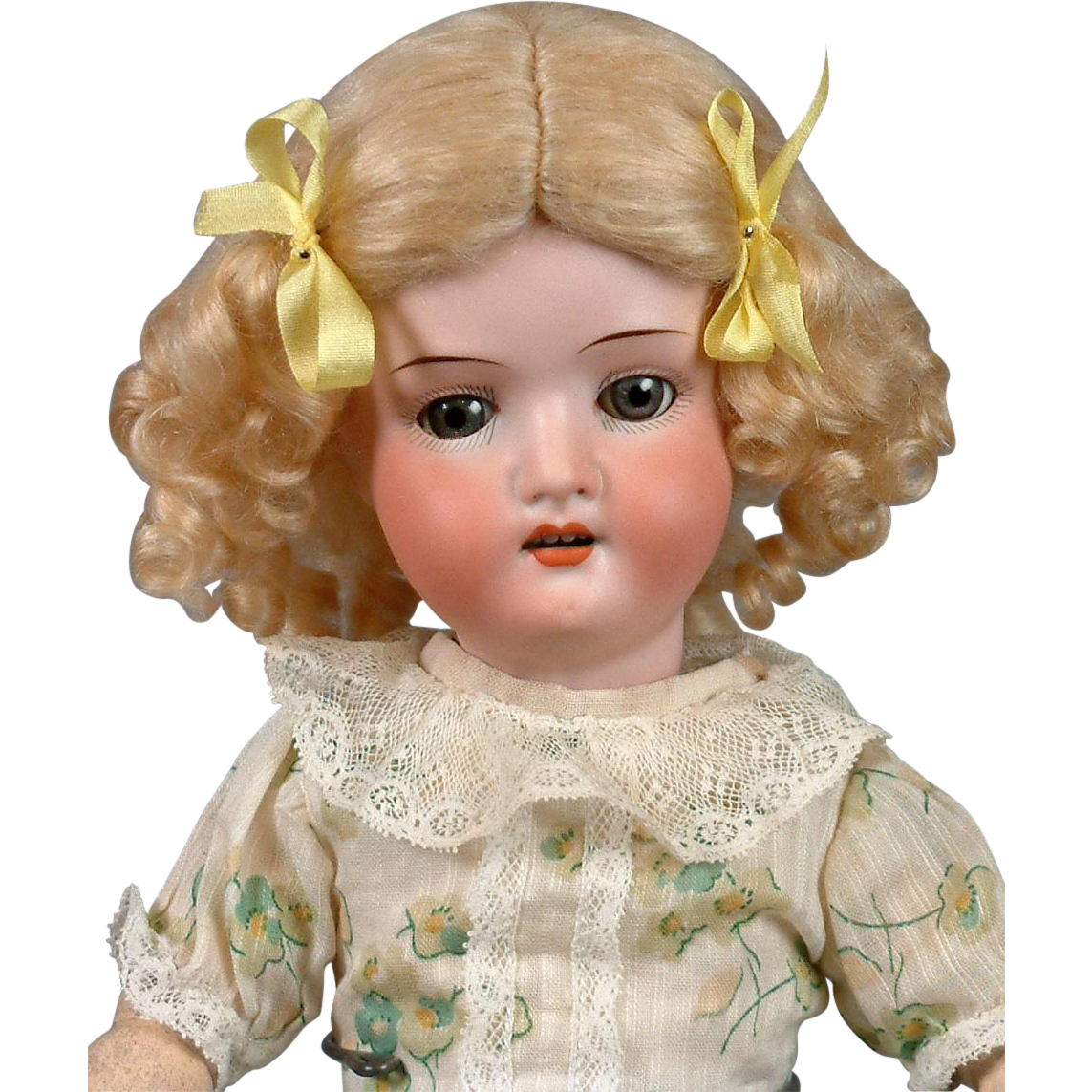 "Lovely Heubach Koppelsdorf 250 14.5"" Antique Bisque Doll with Spring Costume"