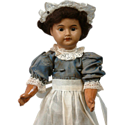 Desirable SFBJ French Black Bisque Doll in Cute Maid Costume