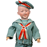 "Desirable Gebruder Heubach 7604 Smiling Boy 17.5""  in Adorable Spring Costume"