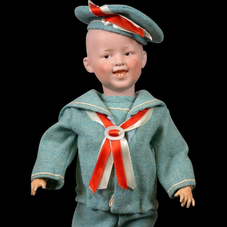 "Desirable Gebruder Heubach 7604 Smiling Boy 17.5""  in Adorable Spring Costume"