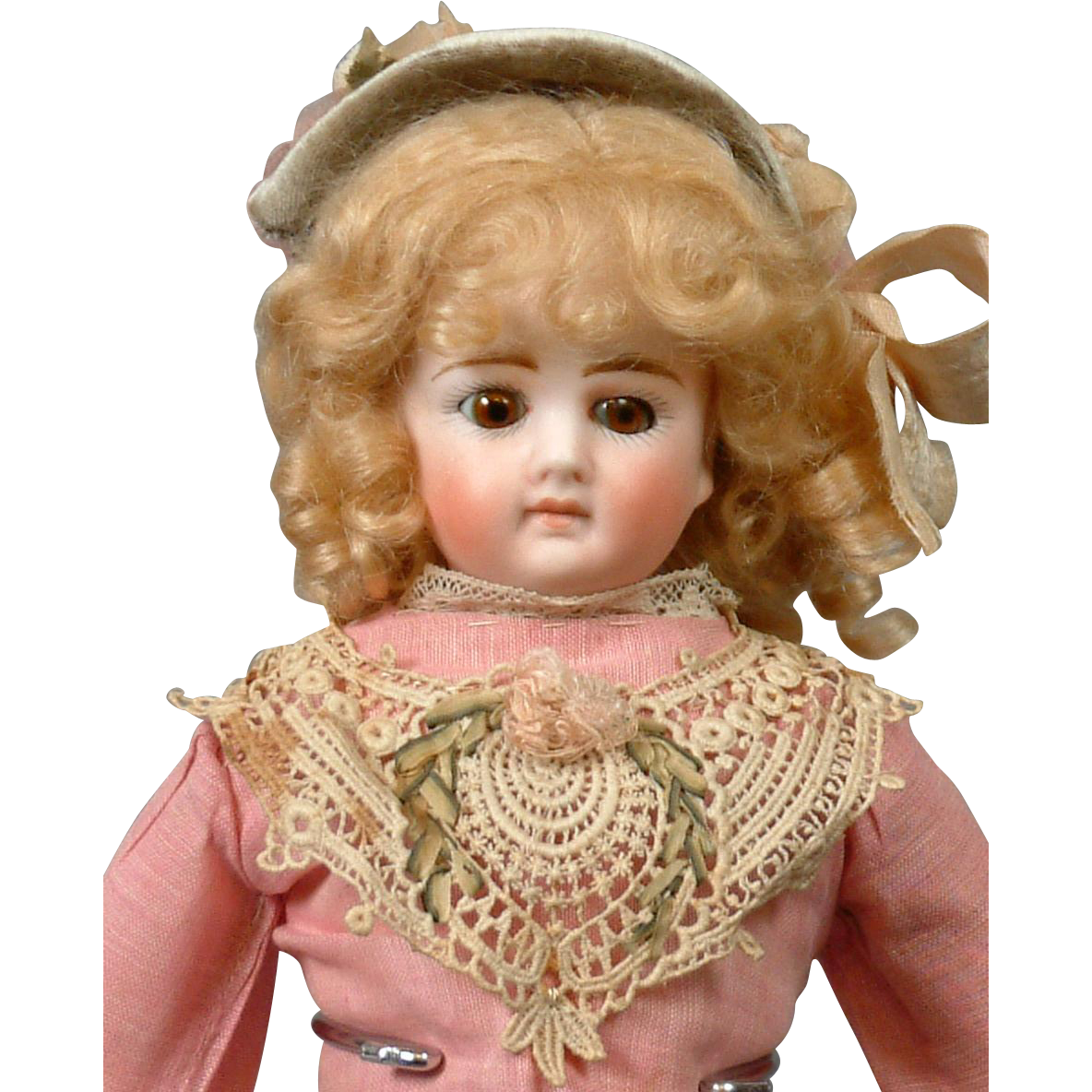 "Gorgeous 14"" German Fashion Lady In Antique Costume With Bisque Hands"
